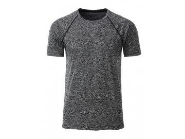 Pánské běžecké triko s reflexními prvky černý melír