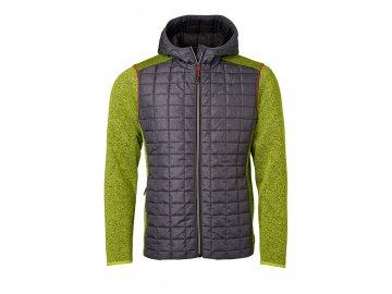 Pletená fleecová bunda s kapucí ve stylovém mixu materiálů zelená kiwi