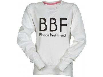 Dámská mikina s potiskem BBF Blonde Best Friend  bílá