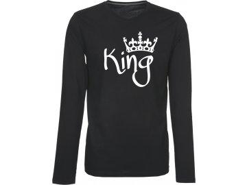 Pánské triko s dlouhým rukávem s potiskem KING černá