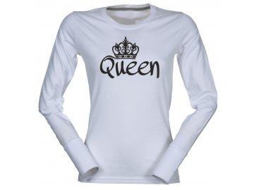 Dámské triko s dlouhým rukávem s potiskem QUEEN bílá