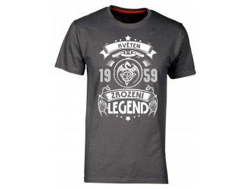Pánské tričko k narozeninám s potiskem Zrození legend motiv dragon zvol si sůvj ročník a měsíc šedá
