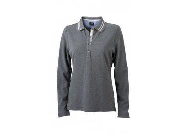 Dámská polokošile Polo Long-Sleeved (Barva Červená - Bílá základní, Velikost oděvů XXL)