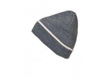 Elegantní zimní čepice s kontrastním proužkem na lemu šedá