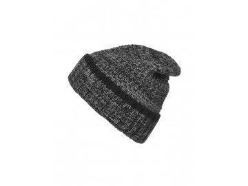 Pánská pletená melírovaná čepice černá