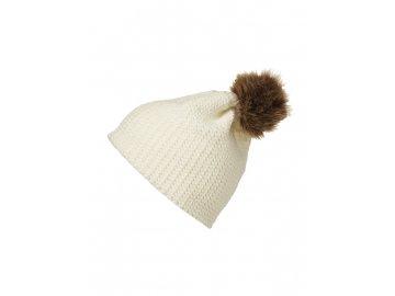 Jemně pletená čepice s bambulí bílá