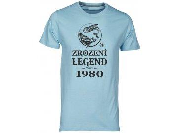 Pánské tričko s potiskem ZROZENÍ LEGEND se znamením zvěrokruhu RYB světle modrá