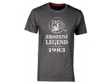 Pánské tričko s potiskem ZROZENÍ LEGEND se znamením zvěrokruhu Berana šedá