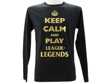 Pánské triko s dlouhým rukávem a potiskem Keep calm and play League of Legends
