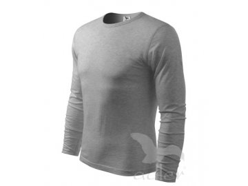 Klasické pánské přiléhavé triko s dlouhým rukávem šedý melír