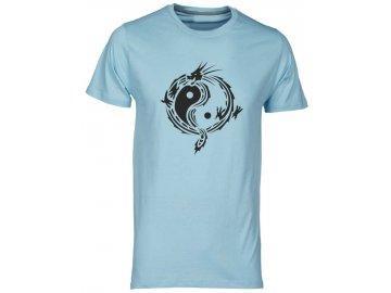 Pánské tričko s harmonizujícím potiskem JIN JANG v designu draka modrasvetla