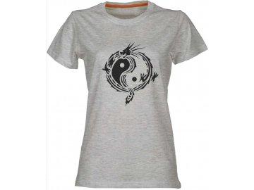 Dámské tričko Jin Jnag v motivu draka melír