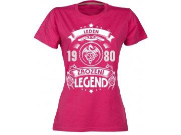 Dámské tričko Zrození legend dragon zvol si svůj měsíc a rok růžová