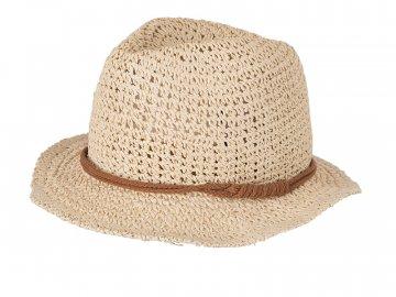 Letní klobouk v háčkovaném vzhledu krémová