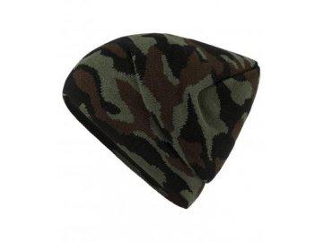 Klasická pletená čepice vzor camouflage zelená
