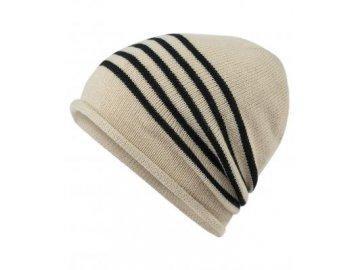 mb7132Elegantní pruhovaná pletená čepice s lehce zarolovaným okrajem krémová