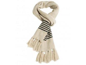 mb7309 Velmi dlouhá pletená šála s jemnými kontrastními proužky písková