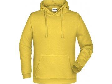 mikina klokanka s kapucí žlutá