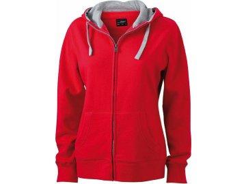 Dámská mikina Lifestyle Zip-Hoody (Barva Červená - Šedá vřesová, Velikost oděvů XXL)
