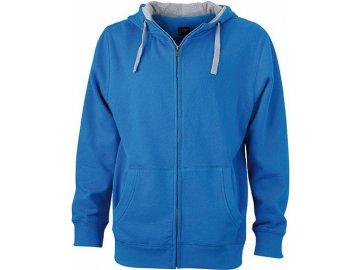 Kvalitní pánská mikina na zip s kapucí modrá