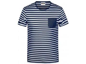 Pánské pruhované tričko z Bio bavlny modrá