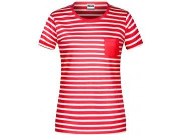 Dámské pruhované tričko z Bio bavlny červená