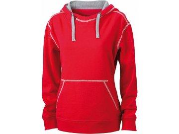 Dámská mikina Lifestyle Hoody (Barva Červená - Šedá vřesová, Velikost oděvů XXL)