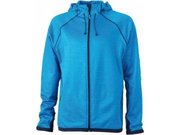 Pánská módní fleece bunda s kapucí modrá