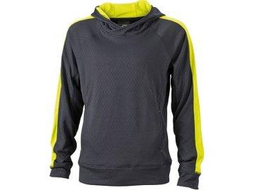 Pánská mikina Hooded Fleece Pull (Barva Černá-acid žlutá, Velikost oděvů S)