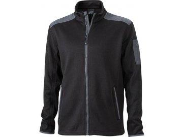 Pánská velmi měkká, teplá pletená fleece bunda černá