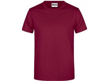 Klasické pánské bavlněné tričko vínová