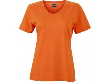 Dámské odolné pracovní tričko do V oranžová