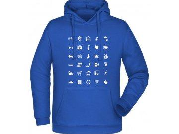 mikina kapuce pro cestovatele modra