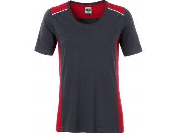 Dámské odolné pracovní tričko s kontrastními vsadky carbon