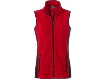 Dámská odolná pracovní fleece vesta se softshellovými boky červená