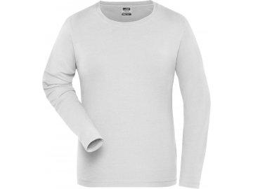 Dámské Bio pružné pracovní triko s dlouhým rukávem bílá