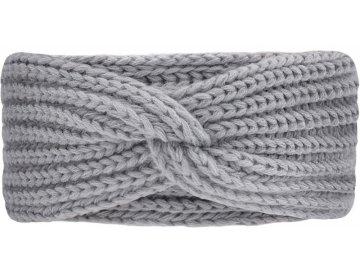 Pletená čelenka s efektním stočením světlá šedá
