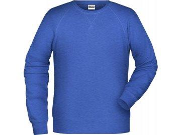 Pánská klasická mikina z Bio bavlny s rukávy v raglánovém střihu modrá kálovská melír