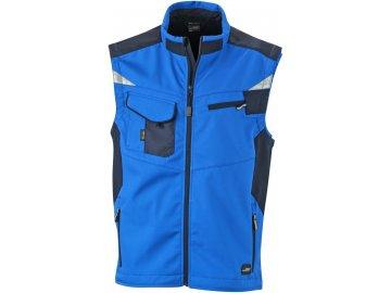Lehká profesionální pracovní softshellová vesta s reflexními detaily modrá královská