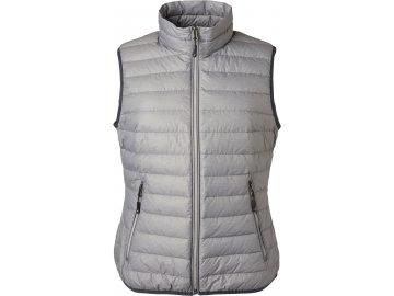 Dámská lehká péřová vesta v klasickém designu stříbrný melír