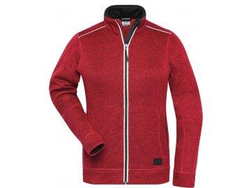 Odolná dámská mikina (bunda) z pleteného fleece červená