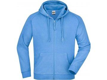 Klasická pánská mikina na zip s kapucí modrá