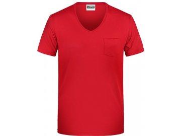 "Pánské tričko z Bio bavlny s kapsičkou a výstřihem do ""V"" červená"