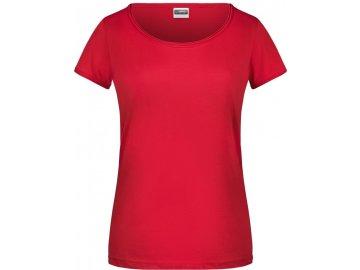 Dámské tričko z Bio bavlnys kulatým hlubším výstřihem a rolovaným lemem červená