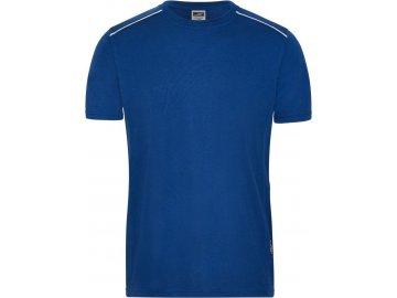 Pánské pracovní tričko skontrastní vsadkou vpředu a vzadu modrá královská