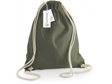 pevný plátěný batoh na stahování šňůrkou vysoká gramáži olive