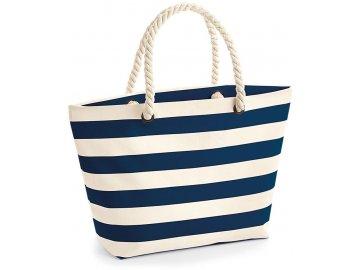 Plátěná plážová taška přírodní modrá