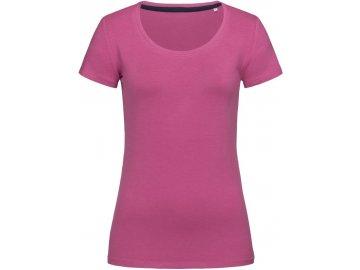 Dámské elastické tričko s kulatým výstřihem růžová