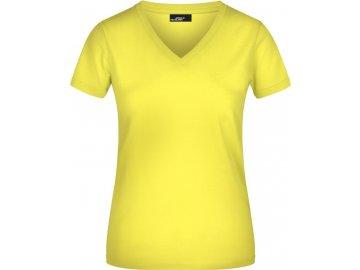 Zúžené dámské tričko s hlubokým výstřihem do V žlutá