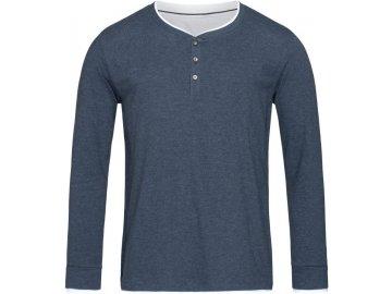 Pánské Henley triko s dlouhým rukávem v melíru modrý melír